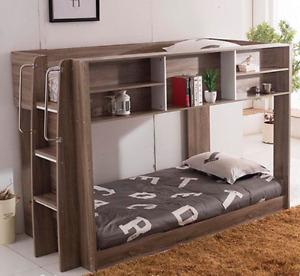 Darco BRAND NEW Mocha Oak Single over King Single Loft Storage Bunk Kids Bedroom