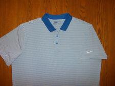Nike Golf Dri-Fit Short Sleeve Blue & White Striped Polo Shirt Mens Xxl Excell.