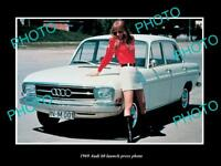 OLD LARGE HISTORIC PHOTO OF 1969 AUDI 60 CAR LAUNCH PRESS PHOTO