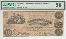 1861 T-28 $10 Confederate States of America PMG 20 Very Fine