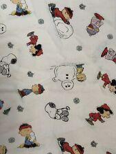 Peanuts  Gang Snoopy Winter Scene 100%  Cotton Flat Flannel Sheet
