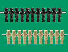 "11 Tan/11 Black Robotic Style Foosball Men for a 5/8"" Rods"