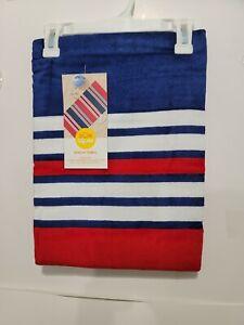 "SUN SQUAD BEACH TOWEL -  BLUE/RED STRIPE - 32'' x 62"""