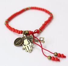 Hamsa & St. Benedict Red Beaded Bracelet