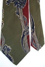 "Generic Men's Silk Novelty Neck Tie Abstract Olive Green Multi 3 3/4"" x 58"""