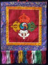 Buddhistischer Wandbehang Doppeldorje bestickt 45 cm x 45 cm Handarbeit