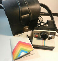 Vintage Polaroid One Step SX-70 White Rainbow Stripe Instant Camera from 1977