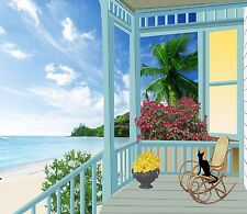 BEACH FRONT PORCH OCEAN ROCKING CHAIR COMPUTER MOUSE PAD  9 X 7