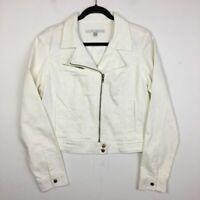 LC Lauren Conrad Women's White Polka Dot Moto Zip Jacket