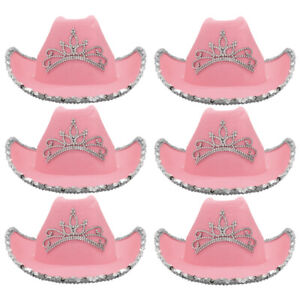 PACKS OF PINK COWBOY HAT WITH TIARA COWGIRL WILD WEST HEN PARTY FANCY DRESS LOT