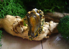 Raw Organic Crystal Ring,adjustable Ring,TIGER EYE RING, gemstone ring,handmade