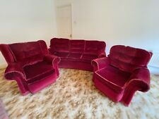 Three Piece Suite, 3 Seater Sofa, Wing and Plain Armchairs, Red, Used