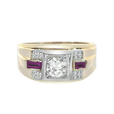 0.65 Carat Diamond 0.20 Carat Man Made Ruby Antique Mens Ring 14K Yellow Gold