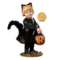 Bethany Lowe Black Kitty Cat Costume Kat Girl Halloween Classic Figurine Decor