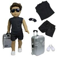 for  Girl Boy 18 inch Dolls Travel Suitcase Shoes Suits Case Glasses Clothes