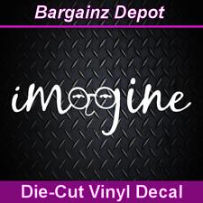 .. Vinyl Decal .. IMAGINE .. John Lennon Glasses Car Laptop Sticker Vinyl Decal