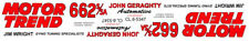Jim Wright Motor Trend 1963-64 Dodge Drag NHRA 1/25th - 1/24th Scale Decals