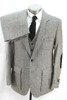 NEW vintage 70s mens 3pc TWEED Pant Suit gray fleck retro elbow patches 42 L