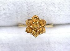 10Kt REAL Yellow Gold Round Golden Citrine Gemstone Gem Stone Cluster Ring Sz6.5