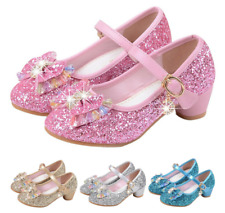 Kids Girls Princess Elsa Dress Up Party Sandals Sequin Glitter Shoes Size