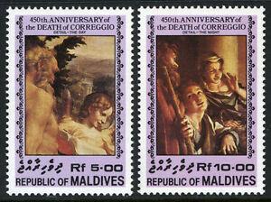 Maldives 1076-1077, Mi 1084-1085, MNH 450th Ann. De La Mort De Correggio, 1984