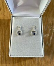 Sapphire and Brilliant Cut Diamond Earrings - 18K White Gold - $7.5K Valuation!!