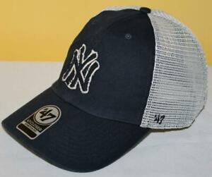 NWT New York Yankees '47 Brand Closer Mesh Trucker Stretch Fit Fitted Hat *1U