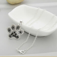 Silver Glitter White Dog Cat Charm Paw Print Pendant Heart Footprint Necklace