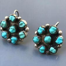 Vintage Southwestern Sterling Silver Turquoise cluster Clip-on button earrings