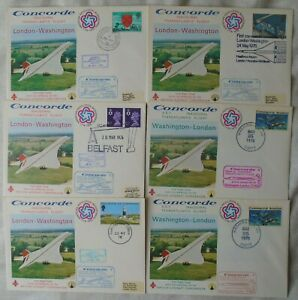 Concorde 6 first flight covers - London Washington different start points vgc