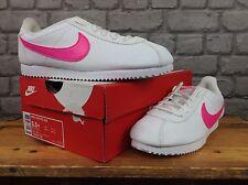 Nike Reino Unido 3,5,5 .5 De Cuero Blanco Rosa Swoosh Cortez entrenadores para Niños Damas Niñas