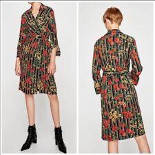Zara  Floral Striped wrap Dress