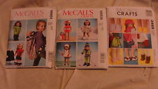 "3 McCALL'S SEWING PATTERNS - 18"" DOLL CLOTHES & ACCESSORIES"