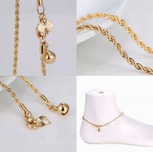 """9K 9ct Yellow""""GOLD FILLED"""" Ladies Bell Charm ANKLE Rope Thick Chain Anklet10.3"""""""