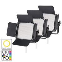 LED Panel Video Lighting System Three head Kit Green Screen Film Daylight 5500K