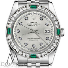 Ladies Rolex 26mm Datejust Silver Color String Diamond Emerald Accent Dial Watch