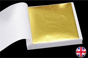 100 Sheets Gold Leaf Foil 9cm Square - Craft Gilding - UK Stock