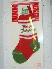 Vtg Christmas Mini Stocking Red Green Stripes Money Holder #2 Noc