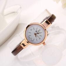 Ladies Fashion Rose Gold White Dial Quartz Slim Brown Band Wrist Watch.