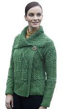Da Donna con Drappo Collo Maglione ARAN cardigan lana merino donna irlandese Carraig Donn-L