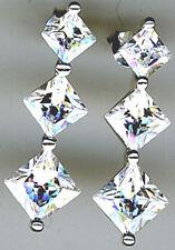 "925 Sterling Silver Clear Cubic Zirconia 3 Stone Stud Drop Earrings Lgth 1.1/8"""