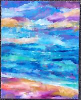OCEAN ABSTRACT Original Acrylic Landscape Painting 16x20 Canvas Beach ART modem