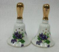 Vintage Porcelain Bells with Violets Salt and Pepper Shaker Set