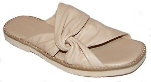 VINCE Lychee Beige Leather Open Toe Shoes 7.5B