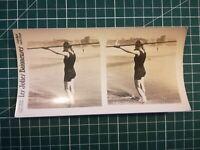 QQ027 Photo stéréoscopique les jolies baigneuses Circa 1930 femmes maillot bain