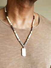 mens hand made dog tag necklace,yak bone,7 sizes,wooden beads,surfer,tribal.