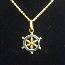 Vintage 18k Gold Accents Blue Enamel Ship's Wheel Double sides Pendant / Charm
