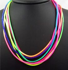 """6pcs Lot 17"""" Multi Color Rainbow Rope Chain Necklace Lobster Clasp Closure 2mm"""