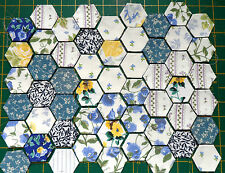 LAURA ASHLEY 50 vintage pre-tacked patchwork hexagons craft/charm/quilt/cushion