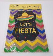 """Cinco de Mayo Garden Flag - Lets Fiesta Garden Flag on Burlap - 12.5"""" x 18"""" New"""